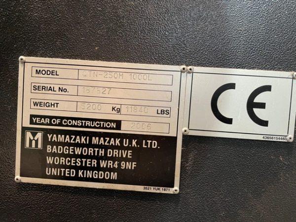 Mazak QTN250M CNC Lathe year 2006 SHV 12 1 2